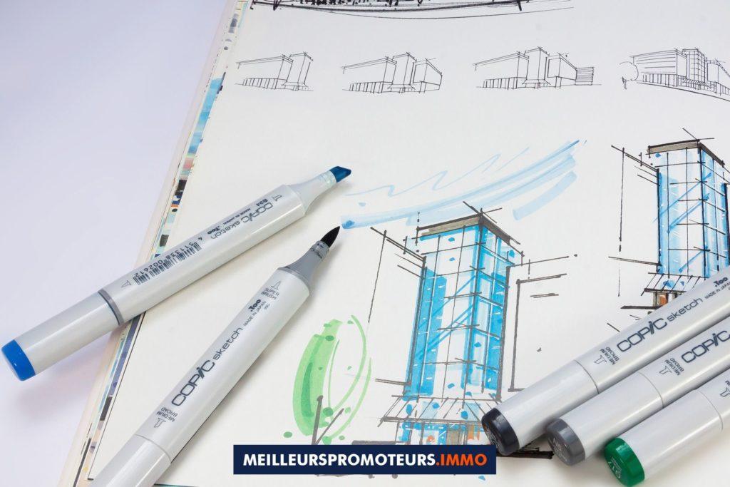 plan immeuble bleu blanc